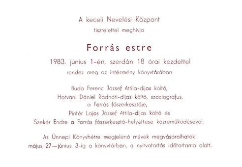 1983. június 1-i Forrás-est meghívója